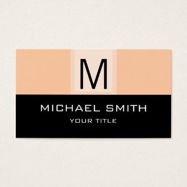 Professional Business Monogram Modern Black & Deep Peach Background Business Card