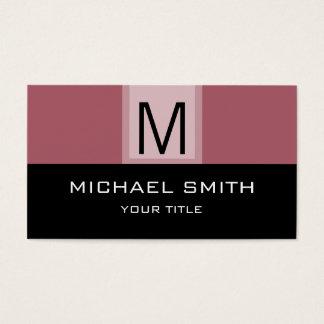 Monogram Modern Black & Deep Puce Background Business Card