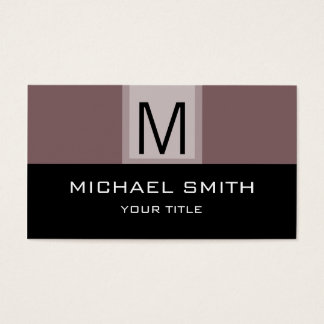 Monogram Modern Black & Deep Taupe Background Business Card