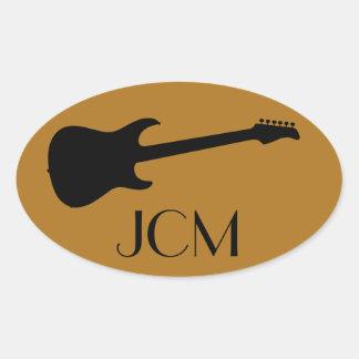 Monogram Modern Black Electric Guitar, Matte Gold Oval Sticker