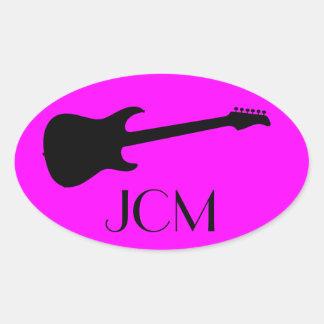 Monogram Modern Black Electric Guitar on Pink Oval Sticker