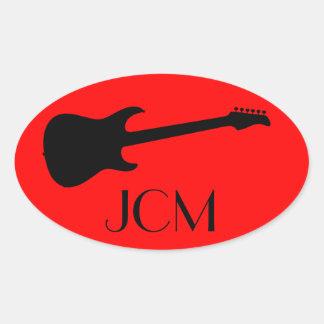 Monogram Modern Black Electric Guitar on Red Oval Sticker