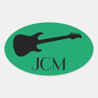 Monogram Modern Black Electric Guitar, Shamrock Oval Sticker