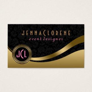Monogram Modern Black & Gold Dynamic Lines Business Card