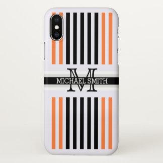 Monogram Modern Black Mango Tango Stripes Pattern iPhone X Case