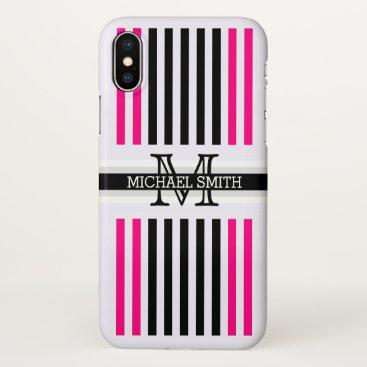 Beach Themed Monogram Modern Black Rose Stripes Pattern iPhone X Case