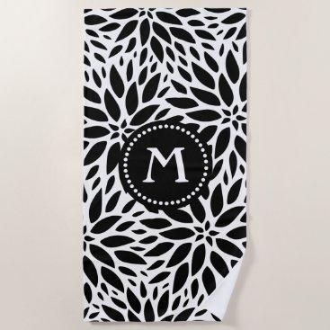 Beach Themed Monogram Modern Black & White Dahlias Beach Towel