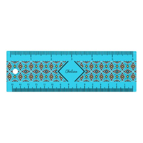 Monogram modern blue yellow aztec diamond pattern