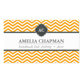 MONOGRAM modern chevron pattern bright orange gray Business Card