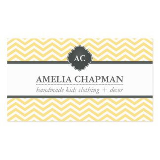 MONOGRAM modern chevron pattern pale yellow grey Double-Sided Standard Business Cards (Pack Of 100)