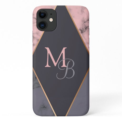 Monogram Modern Chic Girly Pink Gray Marble iPhone 11 Case