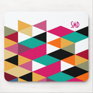Monogram Modern Colorful Geometric Pattern Mouse Pad