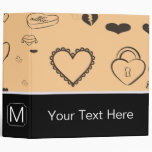 Monogram Modern Dark Gray Heart Pattern Binder