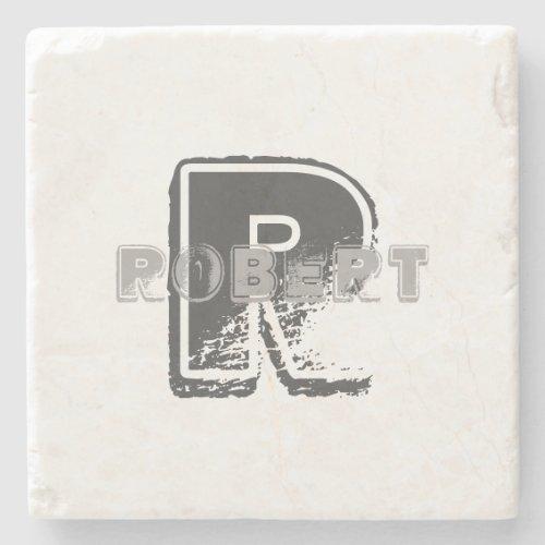Monogram Modern Elegant Template Creative Design Stone Coaster