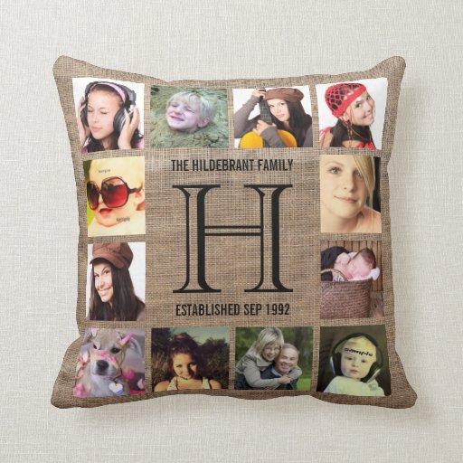 Monogram Modern Family 12 Instagram Photos Throw Pillow Zazzle