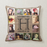 "Monogram Modern Family 12 Instagram Photos Throw Pillow<br><div class=""desc"">Upload a dozen of your favorite or best family pictures (perfect for instagram photos) to make your very own personalized throw pillow! Large initial in the center for your family surname, with your family name and the established date. surrounded on all four sides with your special memories! Faux rustic burlap...</div>"