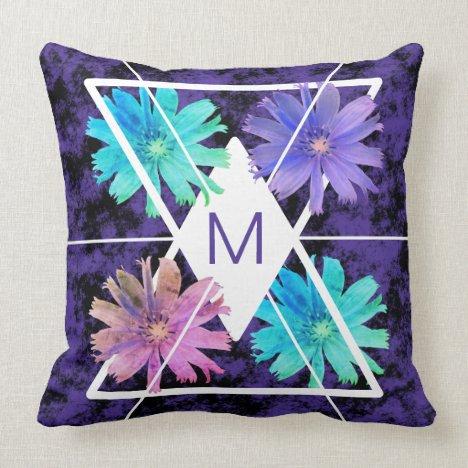 Monogram modern floral geometric black purple throw pillow