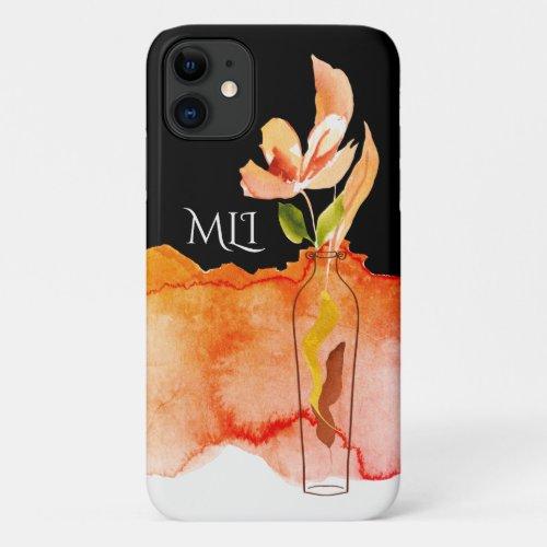 Monogram Modern Flower in Vase iPhone 11 Case