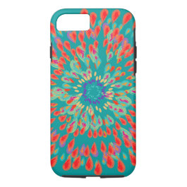 Monogram Modern Flower Teal iPhone Case