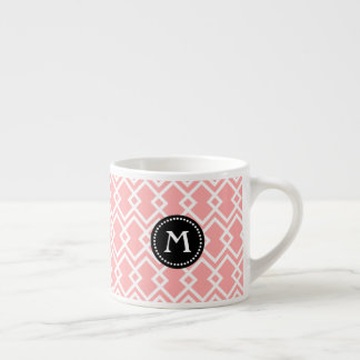 Monogram Modern Geometric Pink Black Espresso Mug