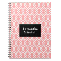 Monogram Modern Geometric Pink Black Notebook