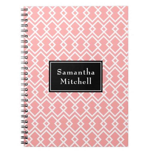 Monogram Modern Geometric Pink Black Notebook