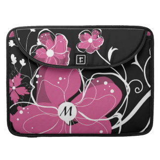Monogram Modern Girly Pink and White Flowers MacBook Pro Sleeve