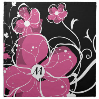 Monogram Modern Girly Pink and White Flowers Printed Napkin