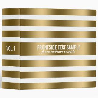 Monogram Modern Gold Stripes White Background 2 Binder