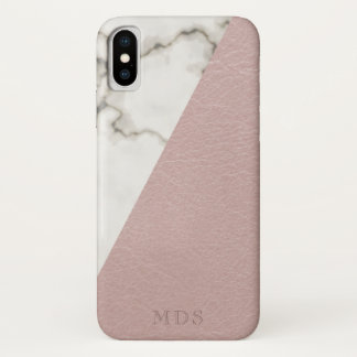 Monogram Modern Marble Blush Faux Leather Look iPhone X Case