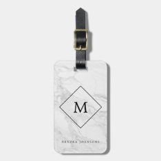 Monogram Modern Marble Luggage Tag at Zazzle