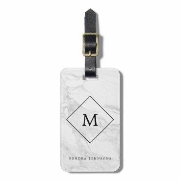 byDania Monogram modern marble luggage tag