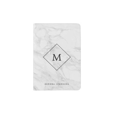 byDania Monogram modern marble passport holder