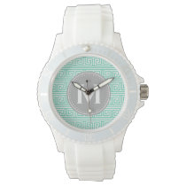 Monogram Modern Mint Greek Key Pattern Wristwatch