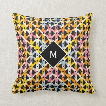 Aztec Themed Monogram modern open weave colorful design throw pillow