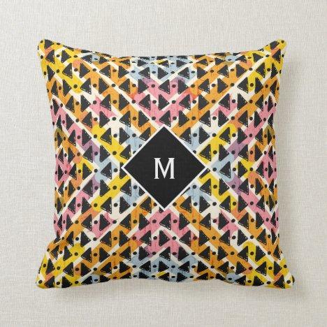 Monogram modern open weave colorful design throw pillow