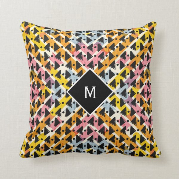 Monogram modern open weave colorful design throw pillow