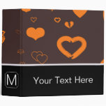 Monogram Modern Orange Heart Pattern Binder