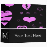 Monogram Modern Orchid Heart Pattern 3 Ring Binder
