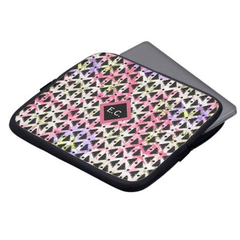 Monogram modern paperchain weave pink mauve black computer sleeve