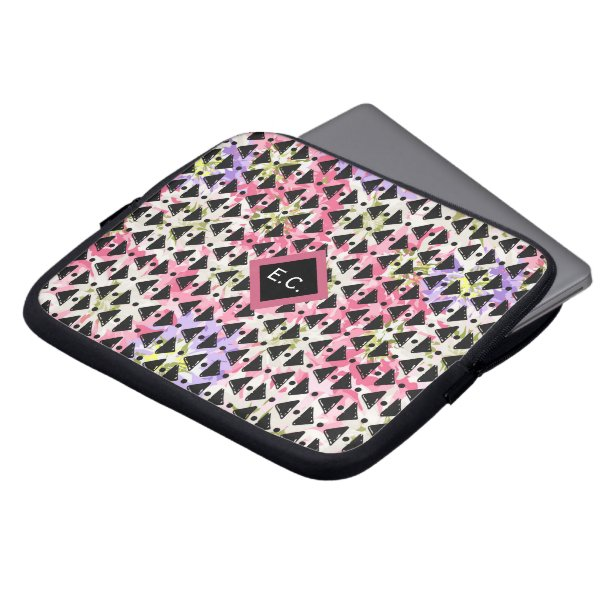 Monogram modern paperchain weave pink mauve black computer sleeve