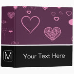 Monogram Modern Pink Purple Heart Pattern Binder