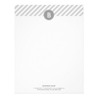 Monogram Modern Plain Silver Letterhead