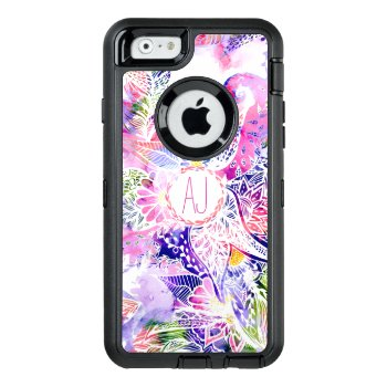 Monogram Modern Purple Blue Watercolor Floral Otterbox Defender Iphone Case by girly_trend at Zazzle