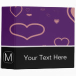Monogram Modern Purple Pink Heart Pattern 3 Ring Binder