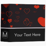 Monogram Modern Red Heart Pattern #2 Binder