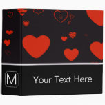 Monogram Modern Red Heart Pattern #3 3 Ring Binder