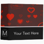 Monogram Modern Red Heart Pattern 3 Ring Binder