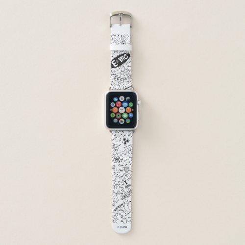 Monogram Modern Science Math Equations Pattern Apple Watch Band