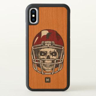 Monogram. Modern Skull with Red Football Helmet. iPhone X Case